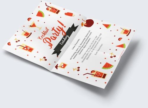 Kostenlose Geburtstagskarte Vorlage Cocktailparty online erstellen